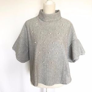 Tops - Turtleneck Poncho with Pearl Detail